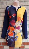 SOON BLUE YELLOW MULTI COLOUR SHEER V NECK LONG SLEEVE CHIFFON BLOUSE TOP 12 M