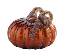 """New 5"""" Hand Blown Art Glass Pumpkin Sculpture Figurine Fall Harvest Dark Amber"""