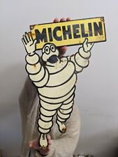 LARGE OLD VINTAGE MICHELIN MAN TIRES PORCELAIN ADVERTISING GAS SIGN TIRE DEALER
