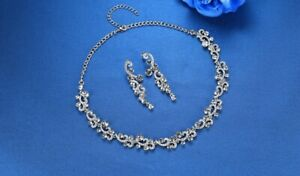 Scroll Crystal Necklace and Earrings Set - New In Gift Box