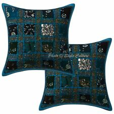 Sequins Patchwork Cotton Pillow Cases Turquoise Geometrical 40cm Set Of 2
