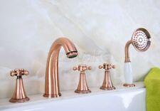 Antique Red Copper 5pcs Roman Bath Tub Sink Faucet with Hand Shower Spray ztf204