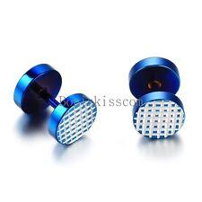 Men's Stainless Steel Grid Checked Pattern Dumbbell Ear Plugs Blue Stud Earrings