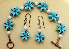 Blue Bracelet Earring Set Copper Metal Clasp Glass Pearl Beads Handmade Jewelry