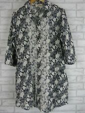 ANTICA SARTORIA Tunic Top Sz S, 10  Black, Cream Floral Beaded Print