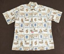 Mens Vintage Size L Half Moon Bay Button Front Short Sleeve Shirt Pineapples
