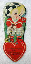 Vintage Die Cut Valentine Boy With Tennis Racket #56