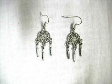 NEW TRIBAL DREAM SPIRIT WEB DREAM CATCHER w 3 FEATHER CHARMS DANGLING EARRINGS