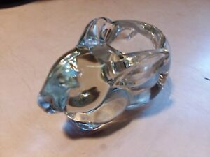 Bunny Clear Heavy Glass Bunny Rabbit Tealight Candle Votive Holder Paperweight
