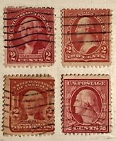 Four Variations- George Washington Two Cents RED Postage USPS Stamps- RARE FIND!