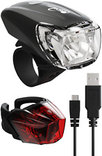 HEITECH StVZO Akku Fahrradlicht Set LED USB Fahrradbeleuchtung Fahrradlampe