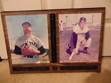 "Mickey Mantle and Willie Mays Autograph Plaque w 8"" x 10"" Color Photos Of Each"