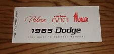 1965 Dodge Polara Custom 880 Monaco Owners Operators Manual 65