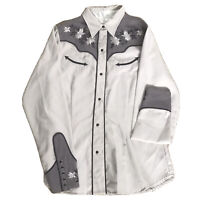 Roper Western Black Pearl Snap Floral Embroidered Rodeo Shirt (S)