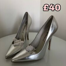 JEFFREY CAMPBELL LEATHER STILETTO HEEL SILVER COURT SHOE