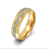 CZ Couple Stainless Steel Wedding Gold Ring Titanium Band Valentine's Day