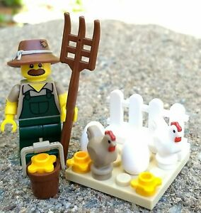NEW LEGO CHICKEN FARMER LOT minifig farm figure city town animal pitchfork