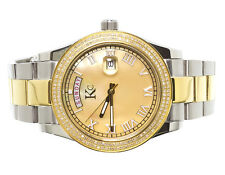 Mens Ladies Two Tone Stainless Steel 41mm Techno Com KC Day-Date Diamond Watch