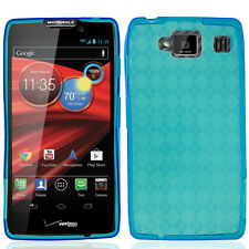 For Motorola DROID RAZR MAXX HD TPU CANDY Flexi Gel Skin Case Cover Blue Plaid