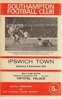 Southampton vs Ipswich Town Septiembre 1972 Programa