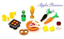 Lego Minifig KITCHEN FOOD LOT Hot Plate Pretzel Wine Bottle Carrot T-Bone Steak+