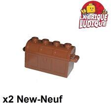Lego - 2x Container coffre trésor treasure chest reddish brown 4738ac01 NEUF