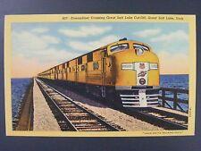 Great Salt Lake Utah Streamliner Vtg Mid Century Curt Teich Linen Postcard 1943