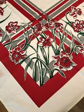 "Vintage VICTORY KB  Cotton Floral Tablecloth~52"" X 52"" NEW w/tags Red Green Gray"