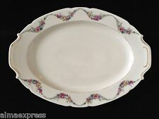 """Victoria Czechoslovakia Floral Garland Wave w/ Gold 15-1/2"""" OVAL SERVING PLATTER"""