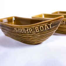 6 Vintage Shrimp Cocktail Boat Dipping Dishes ALOA Ceramic Pottery Divided USA