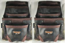 Oil Tanned Leather 10 pkt Carpenter Tool Pouch Waist Bag w/hammer holders 2 PK