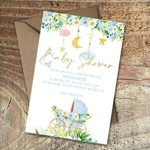 BABY SHOWER INVITATIONS Blue floral pram/carriage, Personalised PK 10