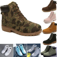 Women's Leather Low Heel Martin Boots Combat Military Ankle Lace-Up Shoes Casual