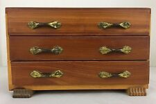 Vintage Cedar Jewelry Trinket Box 3 Drawer 8x5.5x5 Tongue in Groove Construction