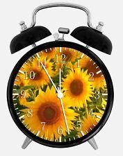 "Sun Flowers Alarm Desk Clock 3.75"" Home or Office Decor X19 Nice For Gift"