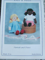 Knitting pattern for Hannah and Grace dolls knitted in Double knitting. KP08