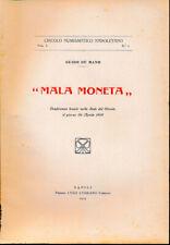 "Hn Circolo Numismatique Napoletano 1919 Vol. I N 2 De Mayo "" Mala Monnaie "" a36"