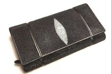 Genuine Stingray Wallet Skin Leather Long Bifold Button Lock Black Zipper Clutch