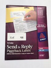 "Open Box Avery Send & Reply Piggyback Inkjet/Laser Printer Labels 1"" x 3"" 240/Pk"