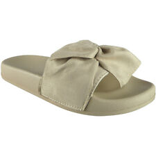 Womens Ladies Comfy Plain Faux Suede Bow Sliders Flats Shoes Slides Slippers Siz