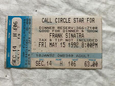 1992 Frank Sinatra Concert Ticket Stub Circle Star Theater San Carlos California