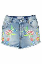 Topshop MOTO Embroidered Denim Hotpants Size Uk6 BNWOT