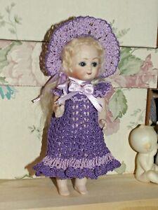 """Antique Doll Dress, Knickers & Bonnet for 6.5"""" - 8"""" Bisque Miniature Mignonette"""