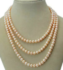"""Long 50"""" 7-8mm Real Natural Pink Akoya Cultured Pearl Without Clasp Necklace"""