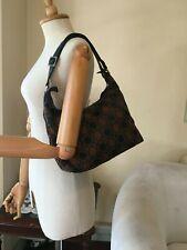 SalvatoreFerragamo Gancini Logo Fabric Black Leather Trim Hobo Shoulder Bag