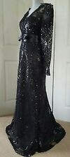 $1.5K MARCHESA NOTTE EXCLUSIVE BLK LACE BEAD RUNWAY GOWN Sz US 0, 4, 6 and  8