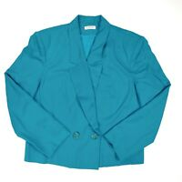 Vintage Talbots Blazer Jacket Womens Size 16 Blue Rayon 1 Button Front Business