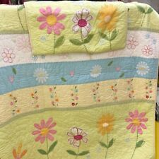 Gorgeous Pottery Barn Floral Twin Girls Quilt with Sham. Very Pretty.