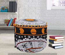 Cotton Astrology Tapestry Round Ottomans Cover Furniture Floor Decor Footstools