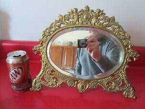 Antique ART NOUVEAU -  DRESSER TOP MIRROR w/ WINGED CUPIDS & GRIFFINS